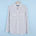 2016 women's pretty polka dot print female shirt epaulette long-sleeve shirt female