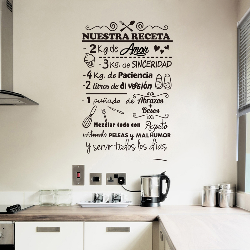 Stickers Nuestra Receta Vinyl Wall Art Decal Living Room Home Decor Poster House Decoration 56 Cm X 88 Cm