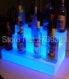 Free Shipping Slong Light Colorful 3 Tiered LED Light Liquor Shelf Displays Remote control,Waterproof Lighted up bottle displays free shipping led lighted cheaper honely 10