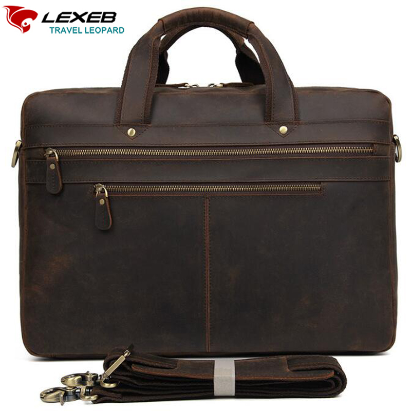 купить LEXEB Genuine Leather Business Travel Bag Vintage Crazy Horse Briefcase For Men, Attached 17 Inch Laptop Case, Large Capacity по цене 8852.56 рублей
