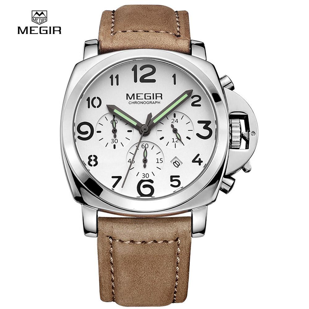 Prix pour Megir hommes montres chronographe casual luxury brand quartz militaire sport montre relogio véritable montre-bracelet en cuir relojes ml3406