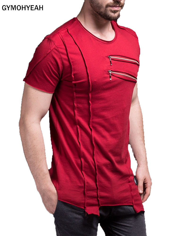 GYMOHYEAH New Short T Shirt Men Fashion Zipper Decorate Design Fitness T-shirt Summer Short Sleeve Solid Slim Fit Hip Hop Tshirt
