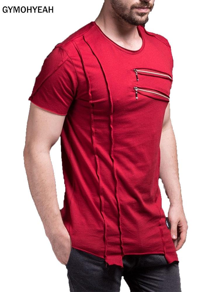 GYMOHYEAH New Short   T     Shirt   Men Fashion zipper decorate Design Fitness   T  -  shirt   Summer Short Sleeve Solid Slim Fit Hip Hop Tshirt