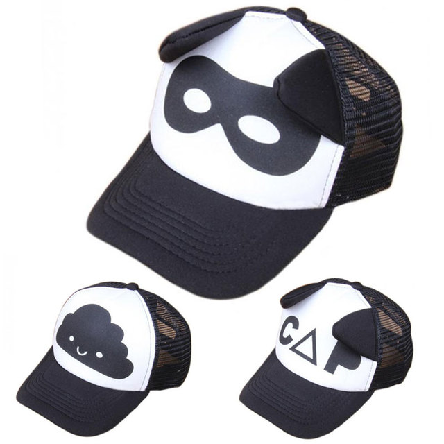 Baby Baseball Cap Summer Simple Ear Mesh Sun Peaked Hat Children Kid  Trucker Flat Caps White Black Breathable Boy Girl Grid Hats eb130c736151