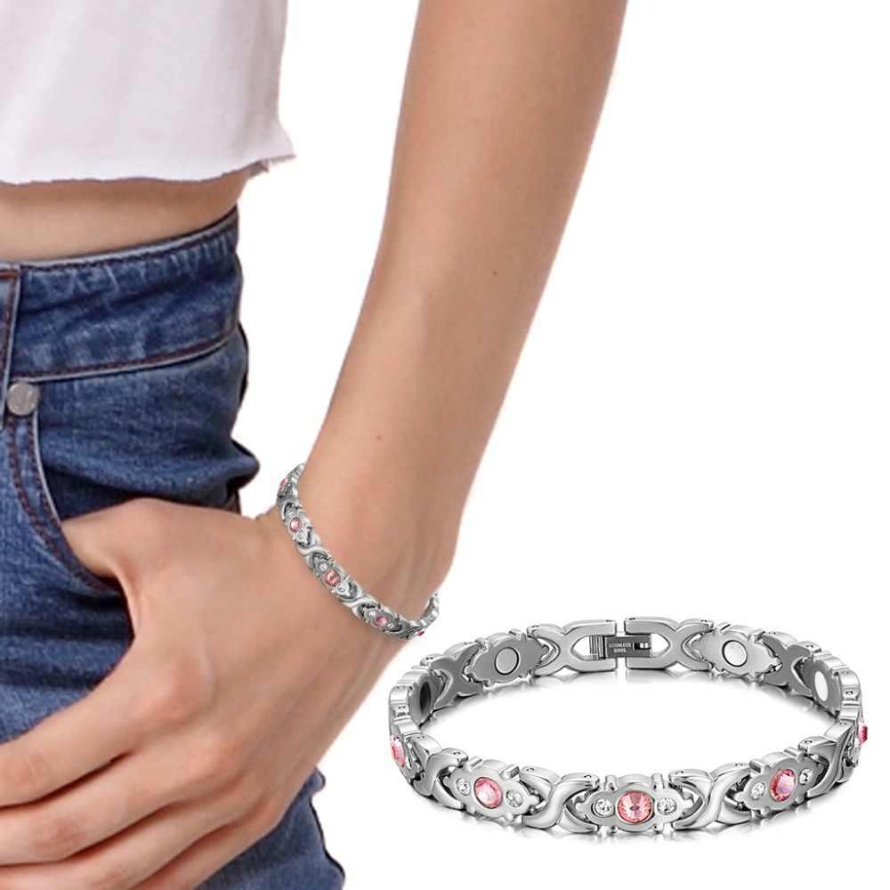 Pulsera femenina RainSo, cristal brillante, acero inoxidable, joyería de moda para la salud, pulseras magnéticas para mujeres, cadena y eslabones de dijes