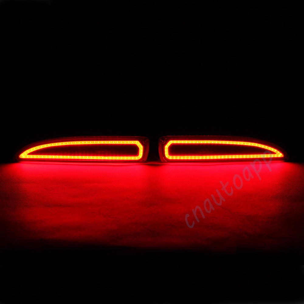 LED Rear Bumper Warning Lights Car Brake Lamp COB Running Light  For Mazda 3 M3 2014 / ATENZA M3 2015  (One Pair) dongzhen fit for nissan bluebird sylphy almera led red rear bumper reflectors light night running brake warning lights lamp