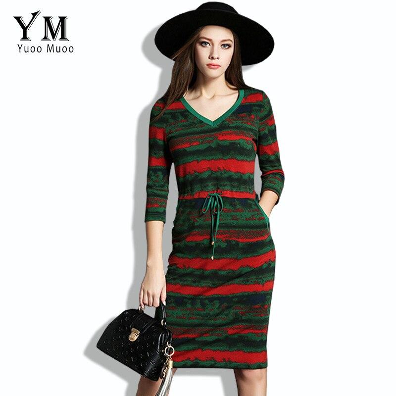 YuooMuoo Nové V-Neck Pletené Jaro Dámské šaty Neformální Pruhované Tužka Šaty s Pásek Evropské Módní Koleno Zelené šaty