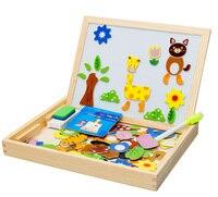 Giocattoli di legno Cavalletto Bambini Giungla Animale Disegno Magnetico Bordo di Puzzle Pittura Blackboard Learning & Education Giocattoli Per I Bambini
