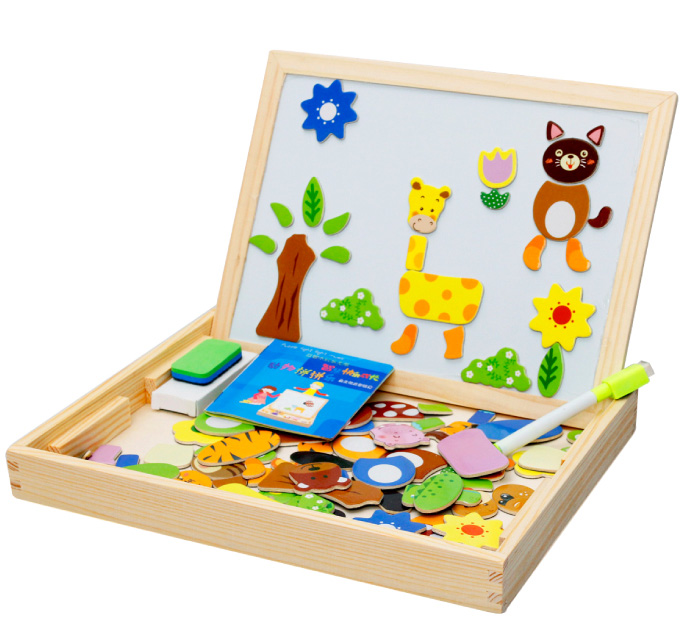 Magnetic Drawing Writing Board Puzzle Double Easel Kids Wooden Toy Xmas Gift