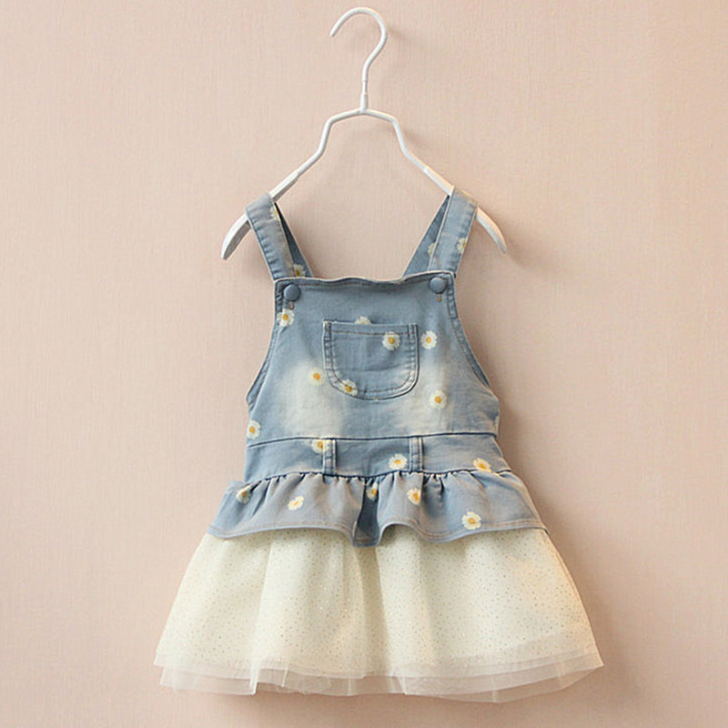 2018 New Girls Dress Kids Baby Girls Sleeveless Jeans Clothes Summers Infant Denim Tutu Dress Overalls Age 12M-4Y Outfits DQ412