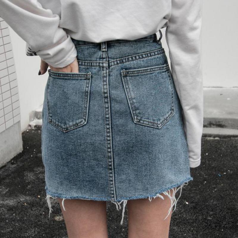 ZuoLunOuBa Women Summer Black Blue Fashion Casual High Waist Mini Denim Skirts High waist Pockets Button Jeans Skirts Womens