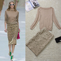 High Quality 2016 Autumn New Fashion Boutique Runway Models Sexy Openwork Embroidery Stretch Knit Skirt And Suit Jacket