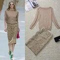 Alta Calidad 2016 Otoño Nueva Boutique de Moda Los Modelos de Pasarela Sexy Bordado Calado Knit del Estiramiento Falda Y Traje de Chaqueta