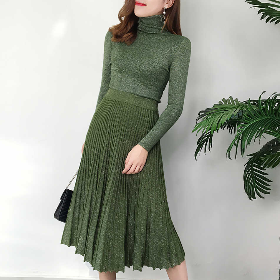 Women's autumn and winter retro bright silk turtleneck sweater suit  pullover sweater + long pleated skirt ladies suit 2019New