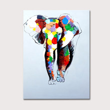 Abstract Modern Canvas Wall Deco Elephant Oil Painting Colorful Paints On Canvas For Wall Art Home Decoration Living Room Decor(China)