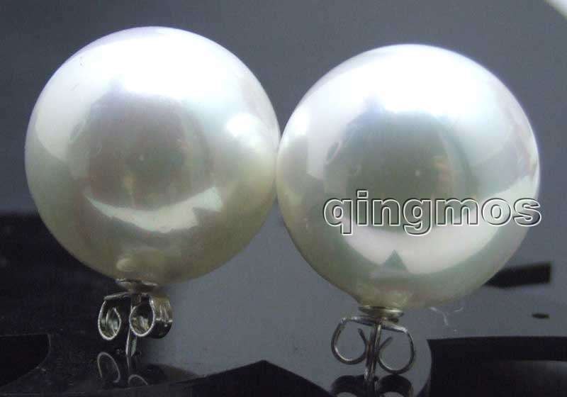 SALE Big 18mm white Round Sea Shell Pearl Earring and Stering Silver 925 stud! -ear426 Wholesale/retail Free shipping