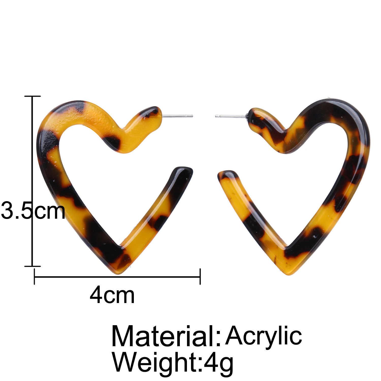 Thiết Kế mới Đơn Giản Hình Học Acrylic Bông Tai Nâu Vòng Hình Trái Tim Tuyên Bố Stud Bông Tai cho Phụ Nữ Đồ Trang Sức Bên