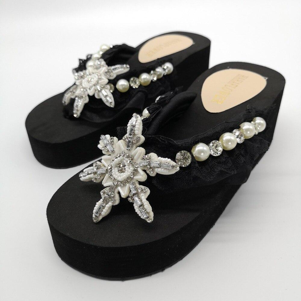 2019, zapatillas de playa de verano para mujer, sandalias de flores con perlas brillantes, chanclas para el hogar, zapatos casuales, envío gratis - 3