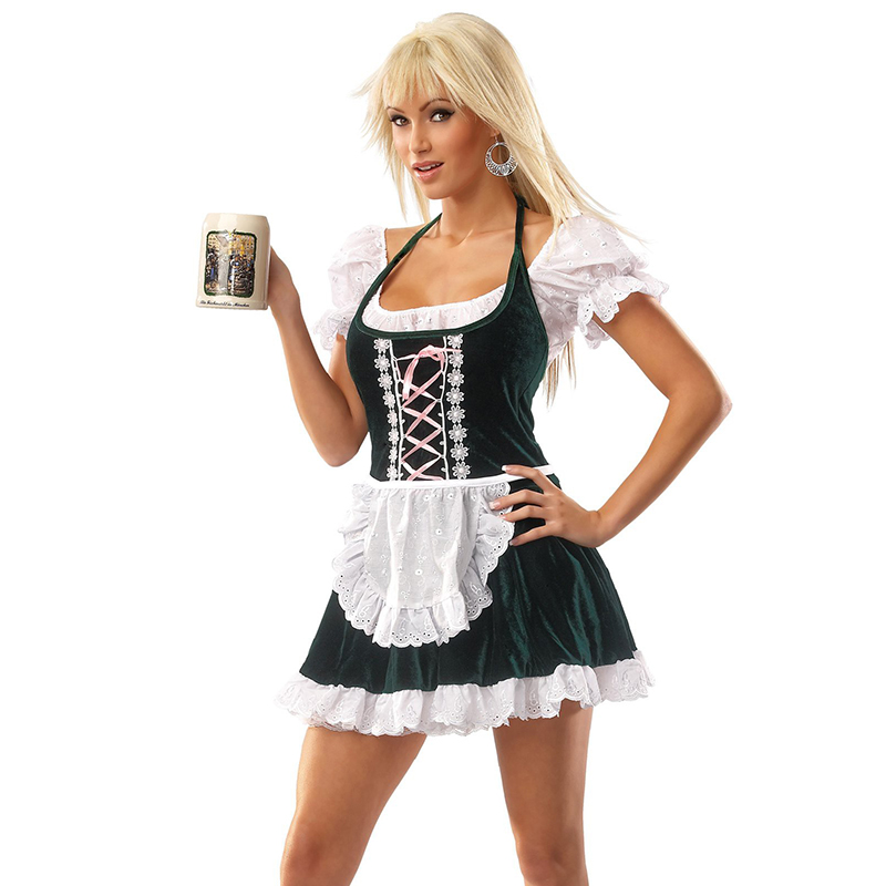 Maid Costume Role-Play for Women Beer Festival Wench German White and Black  Oktoberfest Clothes