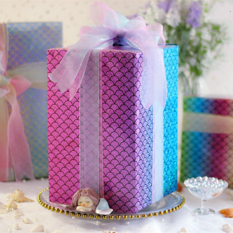 70*50CM Shiny Mermaid Scale Gift Wrapping Paper DIY Crafts