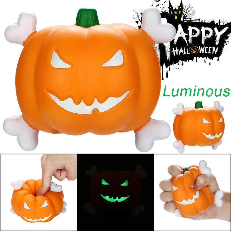 Jumbo Squishies Luminous Pumpkin Slow Rising Fruit Scented Squeeze Stress Reliever Toy Rising Wipes Anti-stress Toys A1