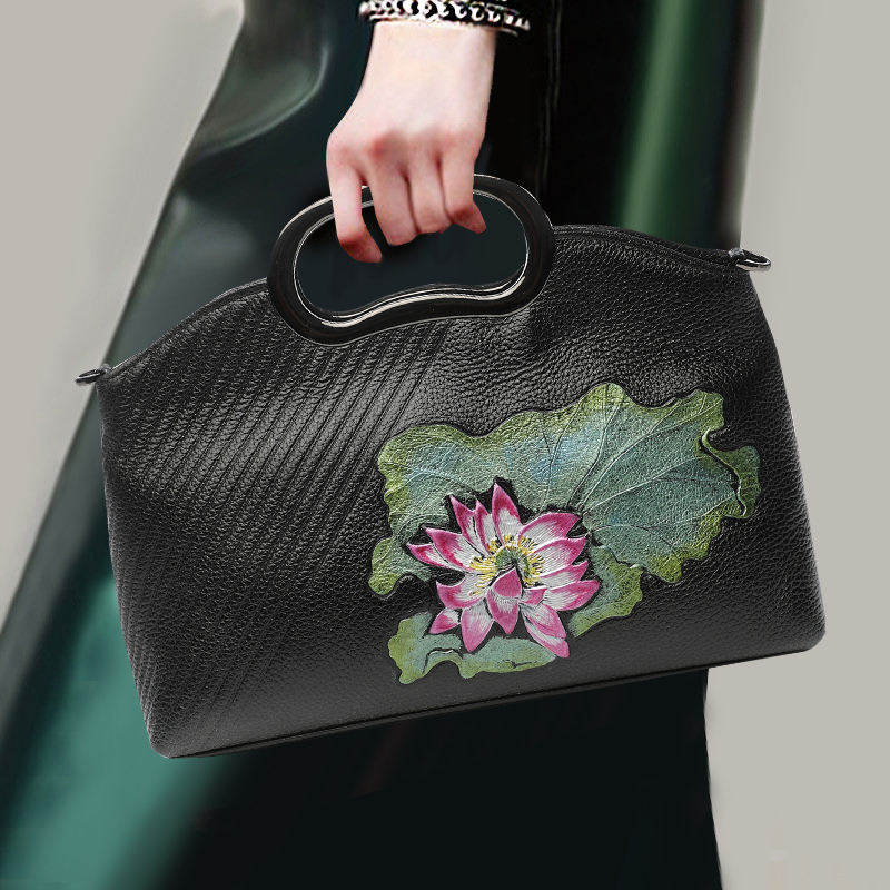 National Style Women Handbag Genuine Leather Top Leather Top Leather Lotus Flower Leaf Pattern Noble Top-handle Bag Shoulder Bag все цены