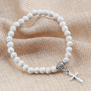 Trendy Men Natural Stone Bracelet Charm Matte Black Cross Beaded Bracelets&Bangles Women Yoga Strand Chain Couple Jewelry Gifts 2
