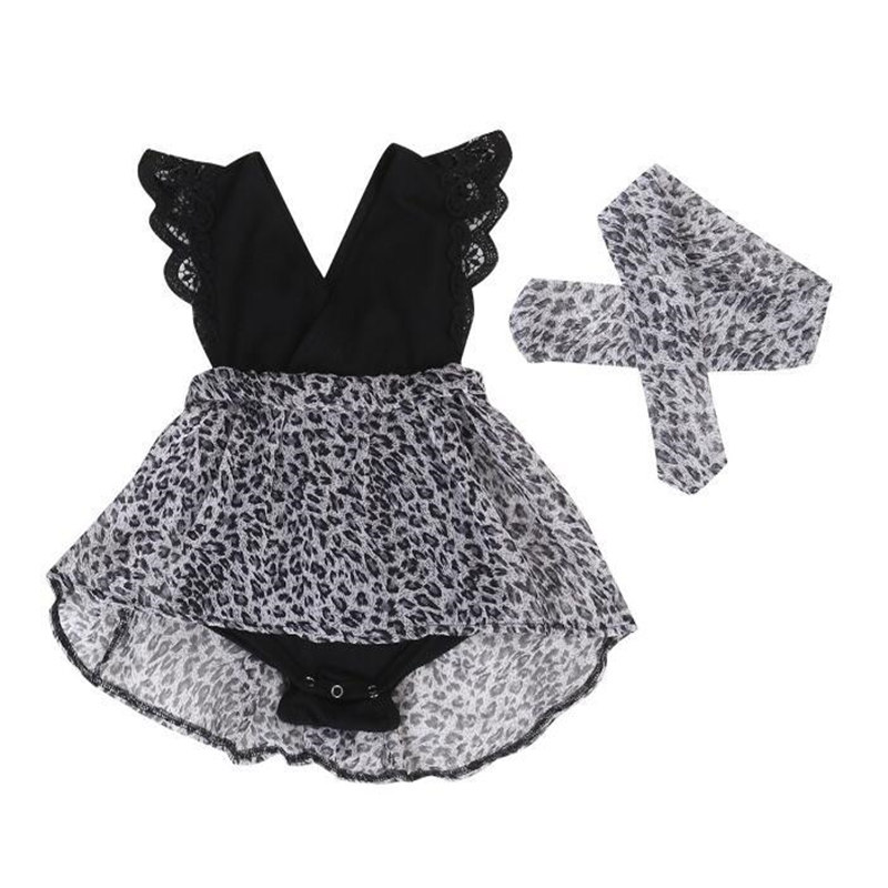 Newborn Baby Girls Dress Leopard Lace Kid Children Clothing Fly Sleeves Vestido Black Baby Party Pageant