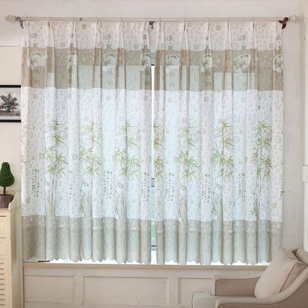 1 Pcs Bambus Drucken Sheer Tür Fenster Vorhang Drapieren Valance Für Wohnzimmer Schlafzimmer Vorhänge Dekorative Fenster Bildschirm #008