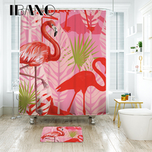 IBANO Wedding Flamingo Pattern Shower Curtain Waterproof Polyester Fabric Curtain for The Bathroom Accessories Home Decor  цена 2017
