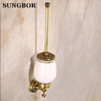 Antique Solid Brass Toilet Brush Holder Ti Pvd Carved European Bathroom Accessories Wall Mounted Bathroom Products ZL 8509F