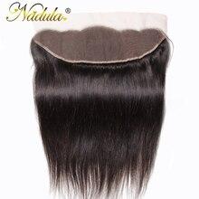 Nadulaヘア13x4ブラジルストレートヘアのレースのfrontals 10 20インチの無料パート閉鎖130% 密度レミ髪送料無料