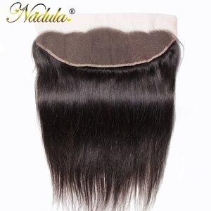 Image 1 - Игрока Nadula волос 13x4 бразильские прямые волосы наращивание спереди на косички 10 20 дюймов Бесплатная Часть Закрытие 130% плотность Волосы Remy Бесплатная доставка