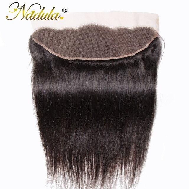 Игрока Nadula волос 13x4 бразильские прямые волосы наращивание спереди на косички 10 20 дюймов Бесплатная Часть Закрытие 130% плотность Волосы Remy Бесплатная доставка