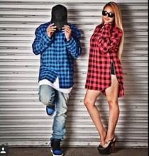 Side Gold Zipper Red Plaid Shirt Mens womens Streetwear Clothes Hip Hop Tyga Men Long sleeve