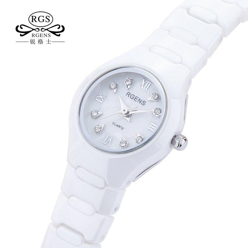 100% Керамика женские часы кварцевые черные белые RGENS женские наручные часы Роскошные бриллиантовые водонепроницаемые женские часы Citizen movement Женские часы      АлиЭкспресс