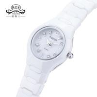 100% ceramics women watches quartz black white RGENS woman wristwatches luxury diamond waterproof ladies clocks Citizen movement