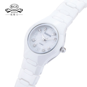 100% ceramics women watches quartz black white RGENS woman wristwatches luxury diamond waterproof ladies clocks Citizen movement(China)