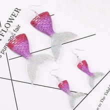 1 пара модных сережек в форме русалки плоские полимерные серьги