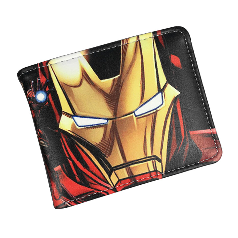 DC Marvel Comics Anime Cartoon Purse Iron Man Wallets PU Leather Card Holder Bags Hero Ironman Folded Short Wallet 2016 new arriving pu leather short wallet the price is right and grand theft auto new fashion anime cartoon purse cool billfold