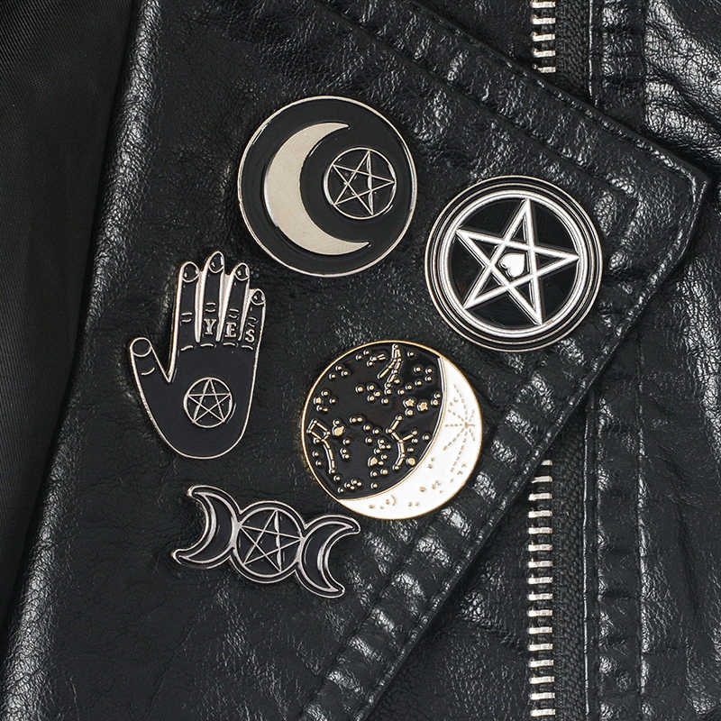 Witch pins collection Pentagram Triple moon Constellation Wizard Brooches Witchy Goth Jewelry Lapel pin for Witches