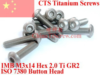 Titanium screw M3X14 ISO 7380 Button Head  Hex 2.0 Driver Ti GR2 Polished 50 pcs 50pcs lot iso7380 m3 x 6 pure titanium button head hex socket screw