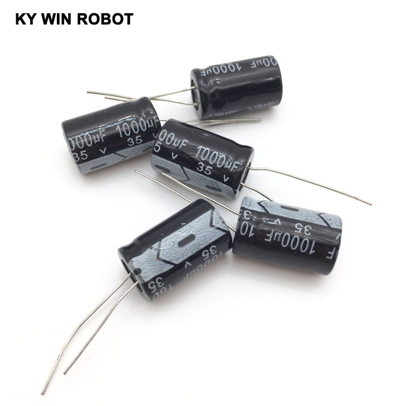 5pcs/lot Aluminum Electrolytic Capacitor 35V/1000 UF 35V/1000UF Electrolytic Capacitor Size 13*20 Mm Plug-in 35V 1000UF