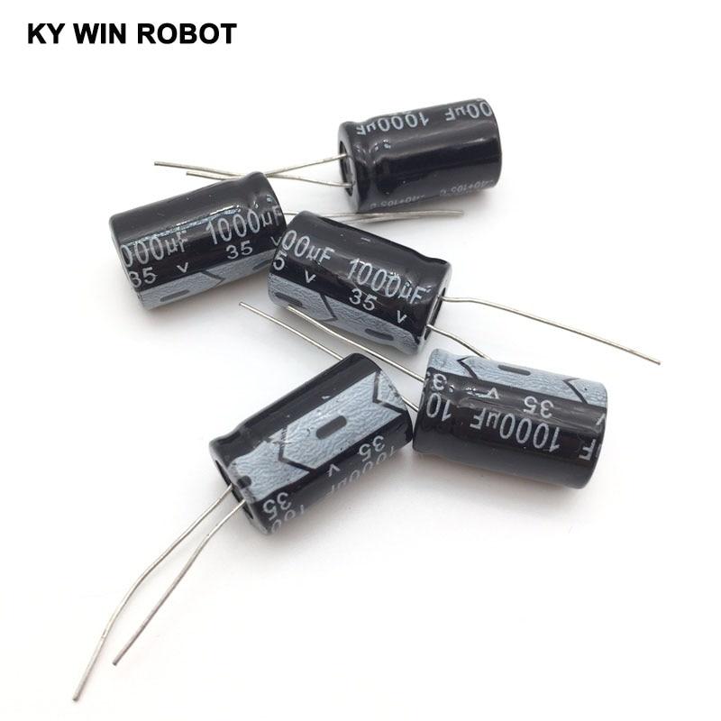 5pcs/lot Aluminum Electrolytic Capacitor 35V/1000 UF 35V/1000UF Electrolytic Capacitor Size 13*20 Mm Plug-in 35V 1000UF