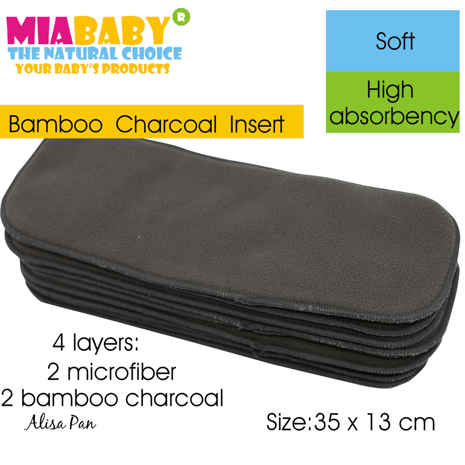 Charcoal Bamboo Diaper Insert, Na[[y Insert, Diaper pad for all Miababy Onesize Diaper cover, Pocket diaper,35cm x13cm.