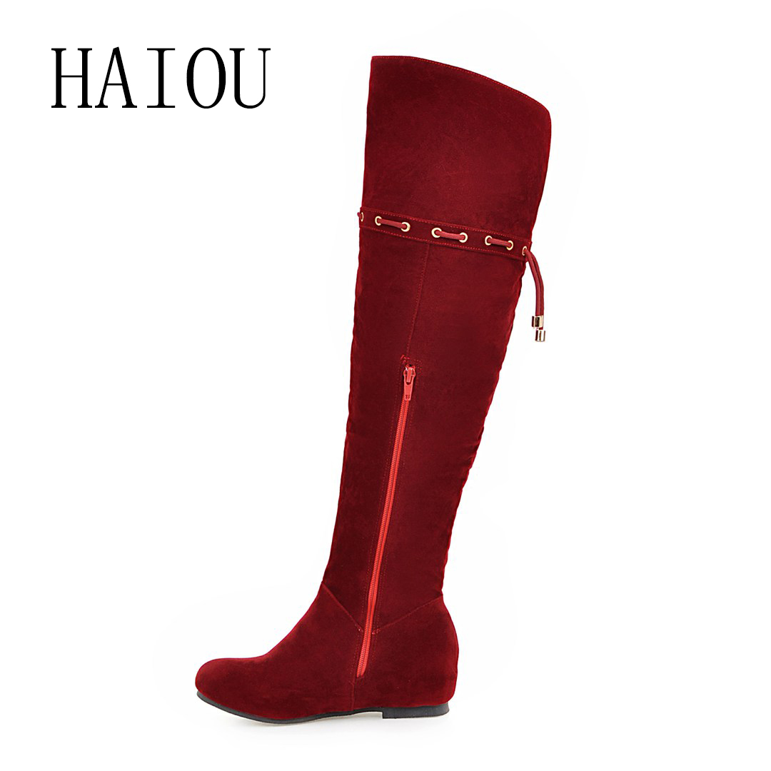 HAIOU 2016 New Fashion Winter Slip On Over The Knee High Boots Warm font b Women