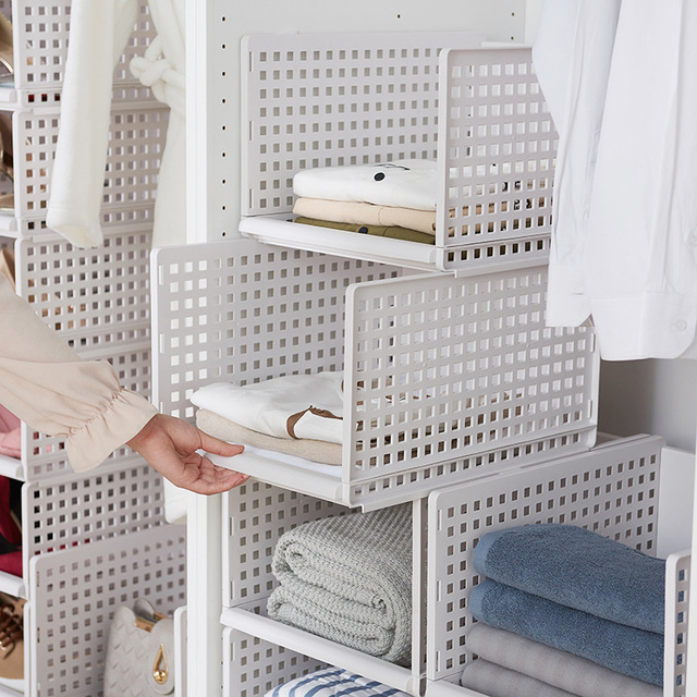 Detachable Wardrobe Organizer Household Drawer Type Finishing Shelf Clothes Storage Basket Stackable Compartment Rack In Holders Racks