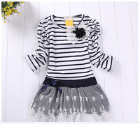 Hot Sale New Autumn Children Wedding Dress Baby Girls Dresses Kids Striped Bow Long Sleeved Lace