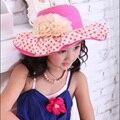 2016 детей мода цветок шляпа солнца девушка на открытом воздухе навесы бутон цилиндр Strawhat многоцветный оптовая продажа
