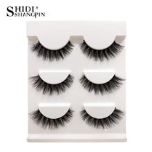 SHIDISHANGPIN 3 pairs Mink Eyelashes Natural Long 3d Lashes False Makeup Eyelash Extension faux cils maquiagem 08